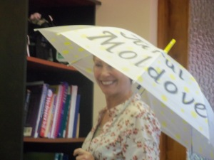 Sue, modeling the official Walk Captain umbrella.