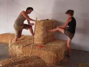 Straw bale construction. These are used to build houses, walls, and benches.